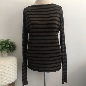 Vince brown and black long sleeve striped top